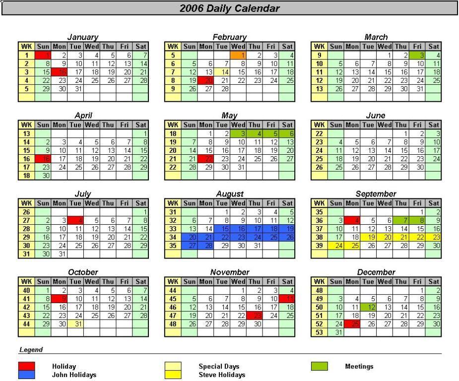 calendar from excel data