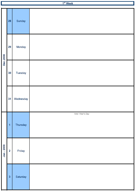 View Weekly Calendar Template