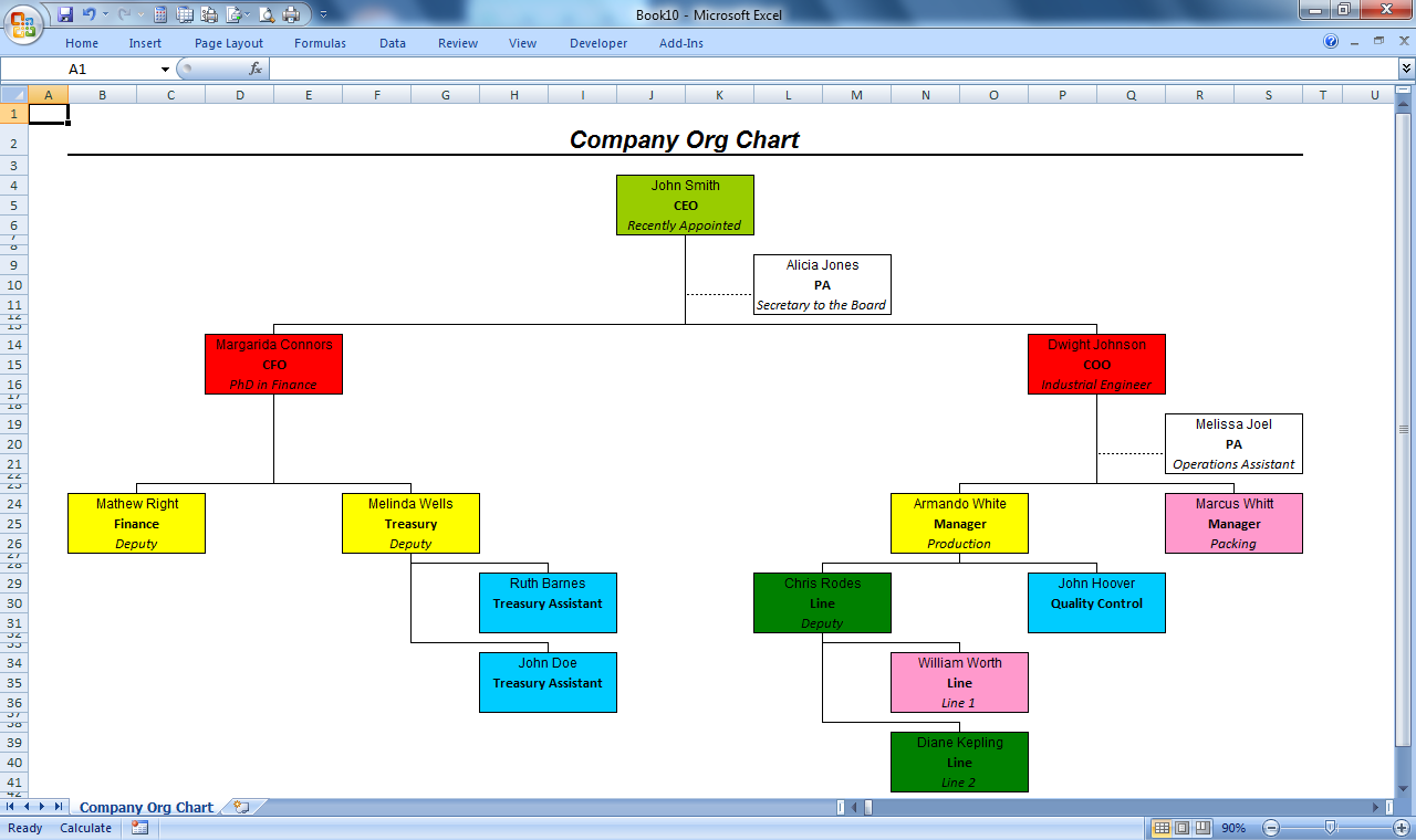 officehelp macro 00051 organization chart maker for microsoft excel. Black Bedroom Furniture Sets. Home Design Ideas