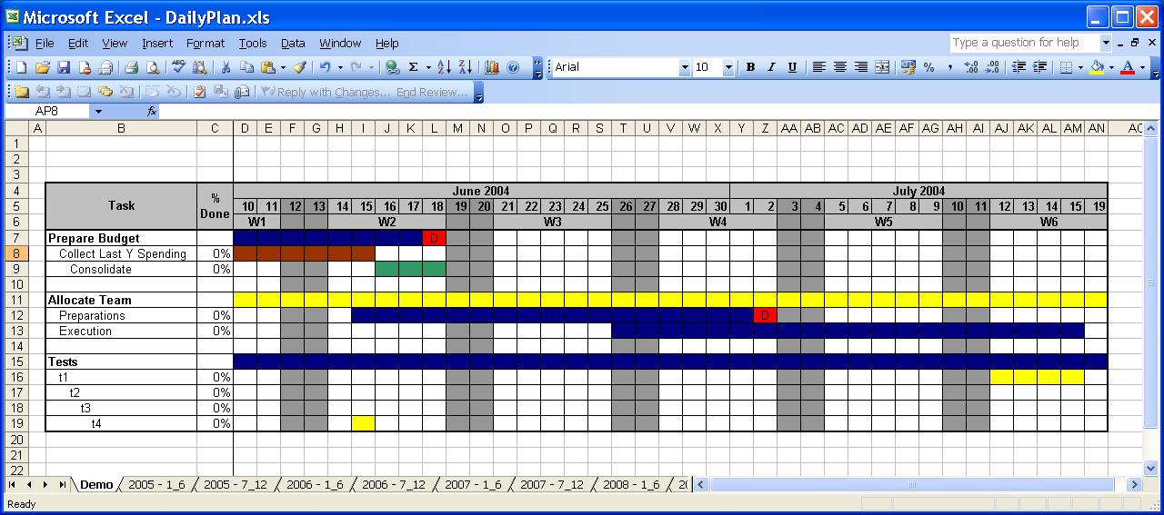 OfficeHelp Template 00031 Calendar Templates 2005 2010 – Daily Task Calendar Template