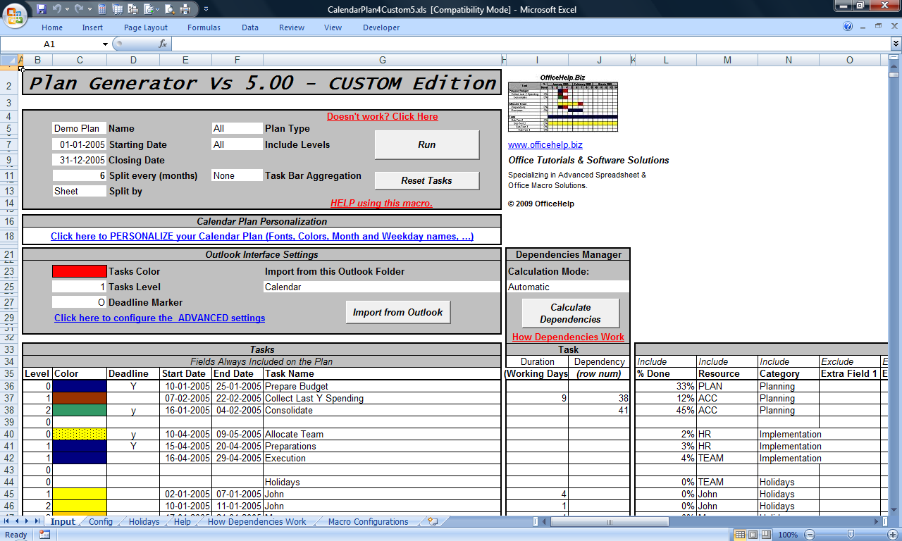 OfficeHelp - Macro (00044) - Custom GANTT Charts for Microsoft® Excel®