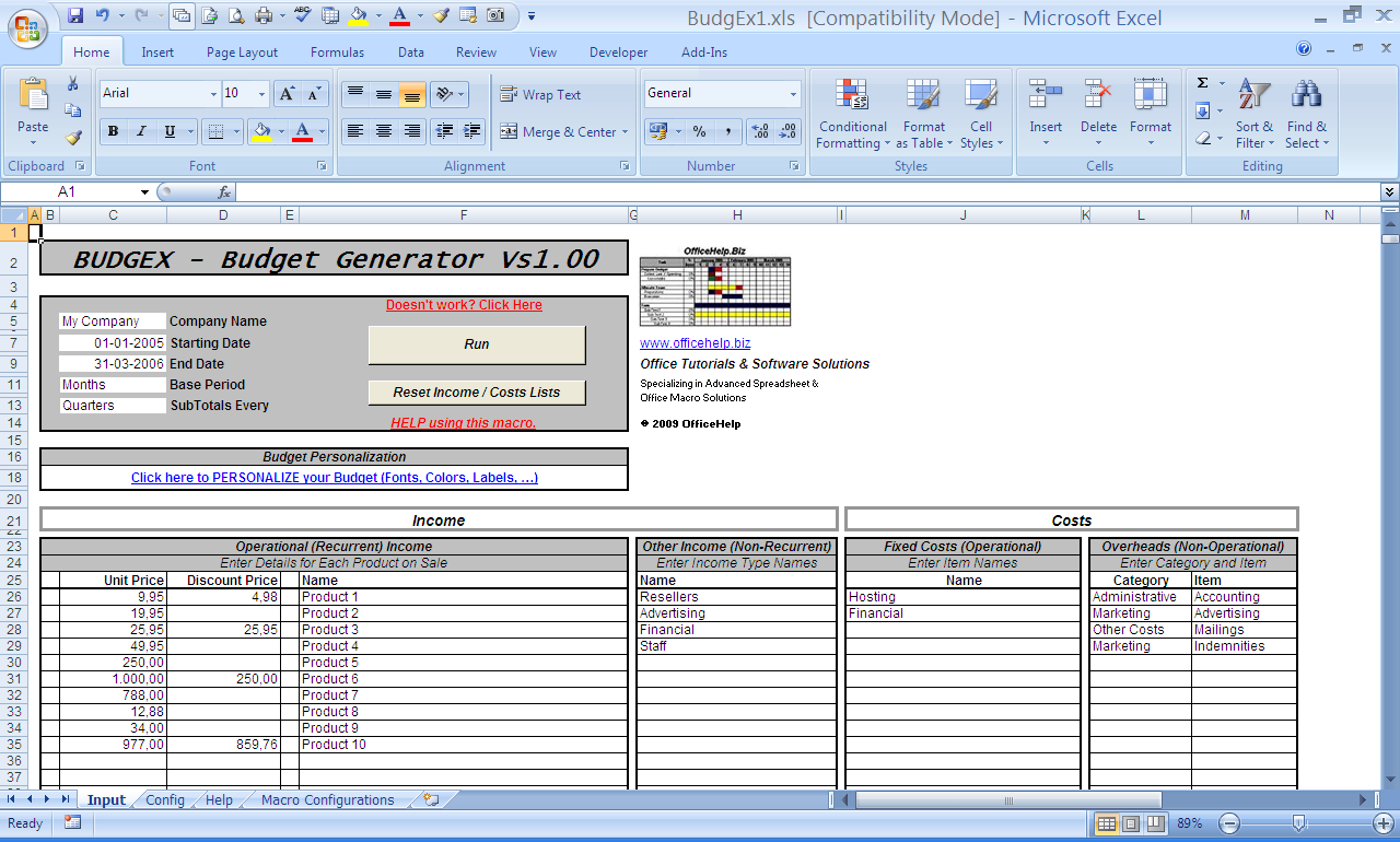 Officehelp Macro 00048 Budgex Budget Generator For Microsoft