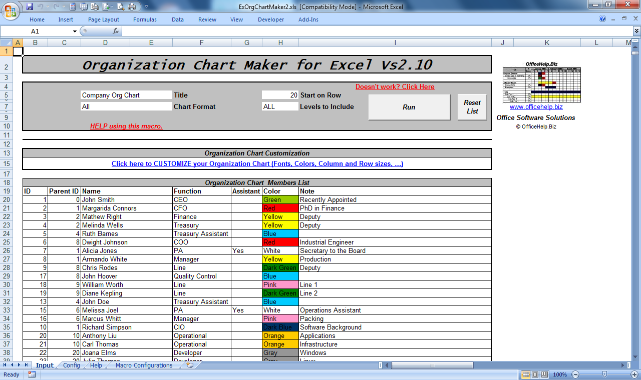 Officehelp macro 00051 organization chart maker for microsoft screen shot from the microsoft excel macro file click to enlarge ccuart